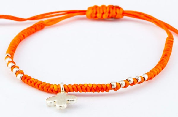 Fair Trade Thai Hill Tribe Silver Charm Waxed Cotton Bracelet Orange Clover