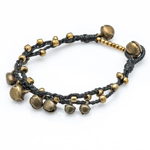 Brass Bell Waxed Cotton Bracelets in Black