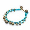 Brass Bell Waxed Cotton Bracelets in Turquoise