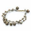 Brass Bell Waxed Cotton Bracelets in Gray
