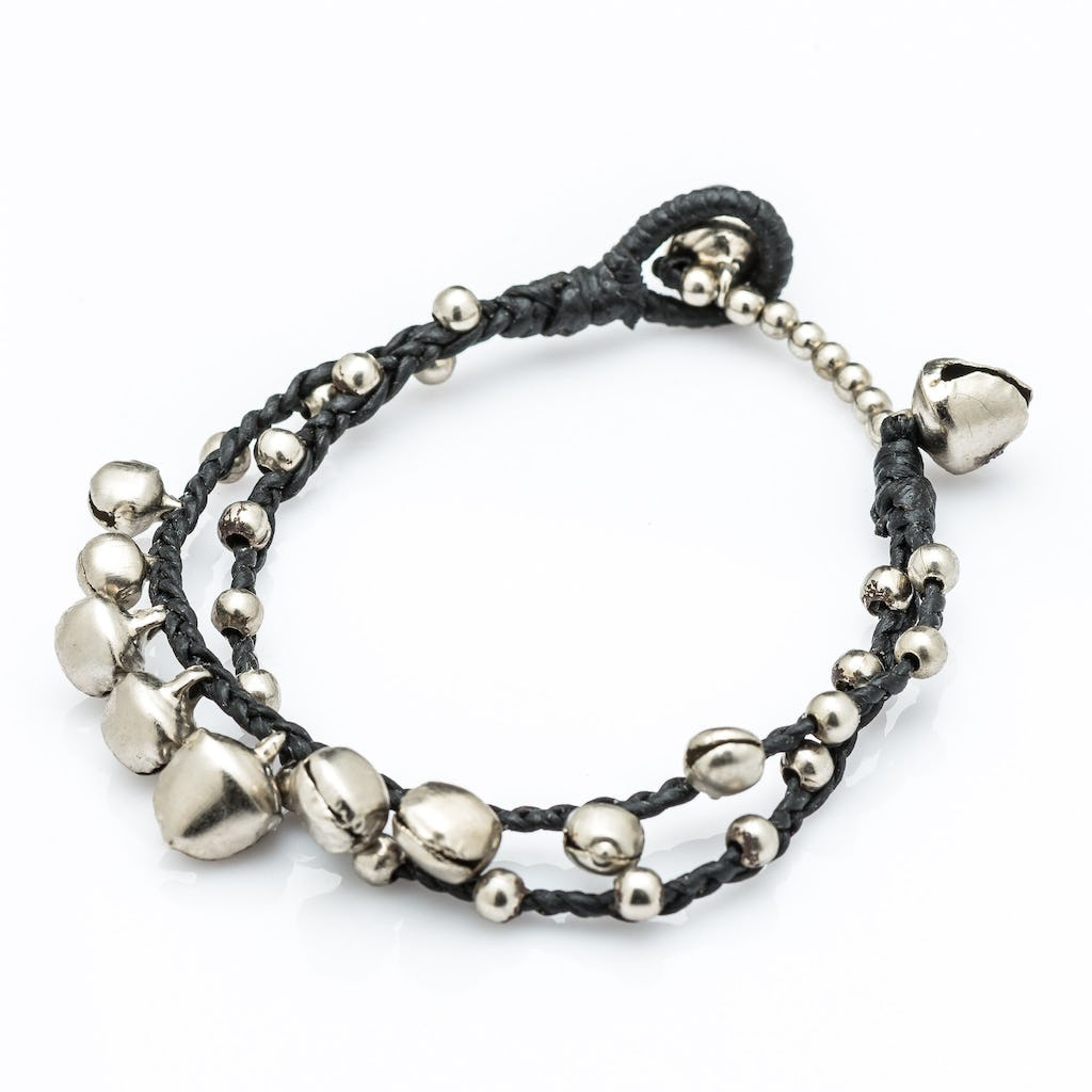 Silver Color Bell Waxed Cotton Bracelets In Black