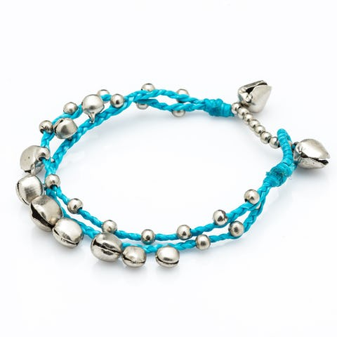 Silver Color Bell Waxed Cotton Bracelets in Turquoise