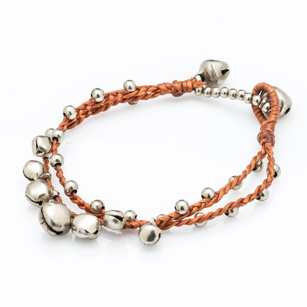 Silver Color Bell Waxed Cotton Bracelets in Copper