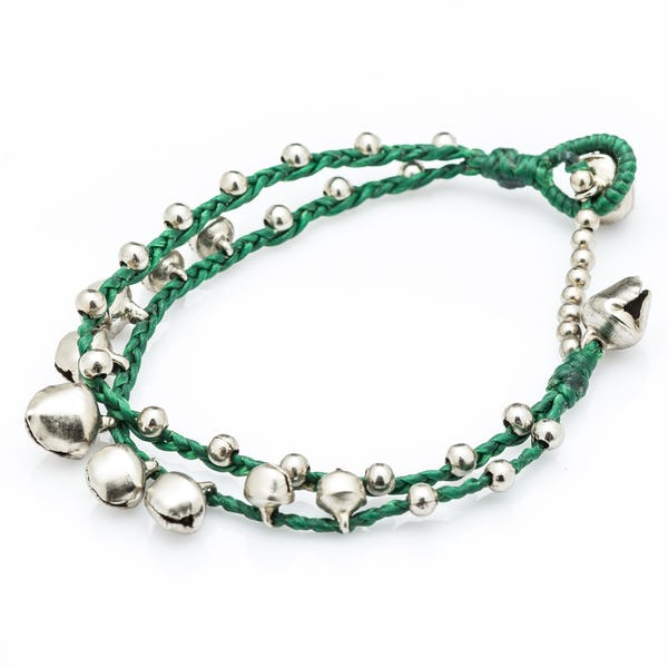 Silver Color Bell Waxed Cotton Bracelets in Green