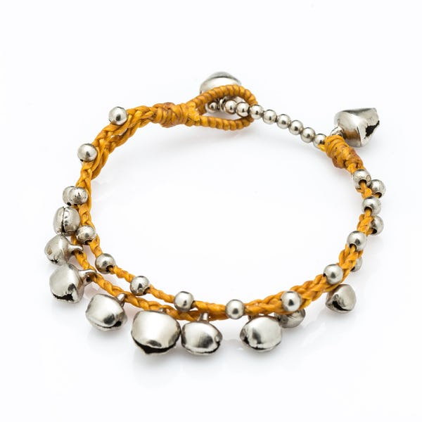Silver Color Bell Waxed Cotton Bracelets in Mustard