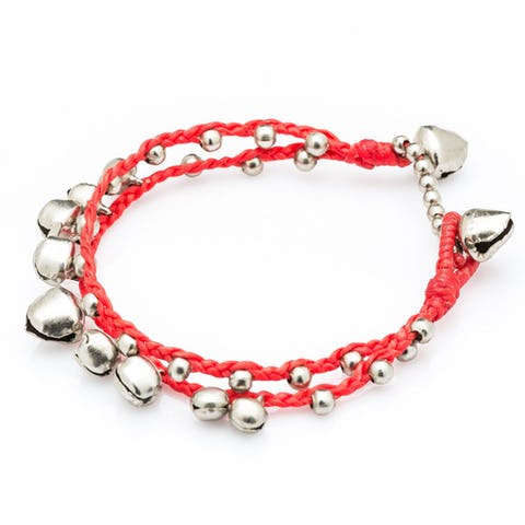 Silver Color Bell Waxed Cotton Bracelets in Red