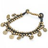 Chinese Coin Waxed Cotton Bracelets in Black