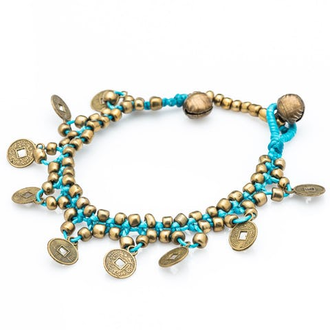 Chinese Coin Waxed Cotton Bracelets in Turquoise