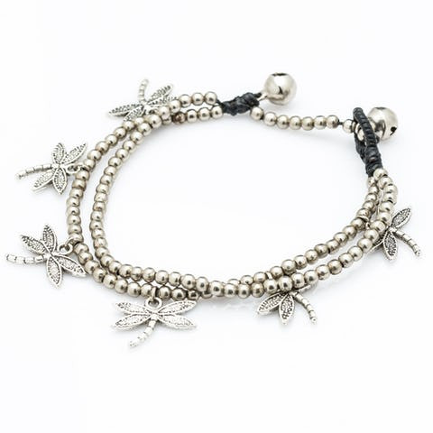 Hill Tribe Silver Color Bead And Charm Bracelets 02