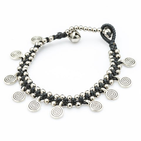 Hill Tribe Silver Color Bead And Charm Bracelets 05
