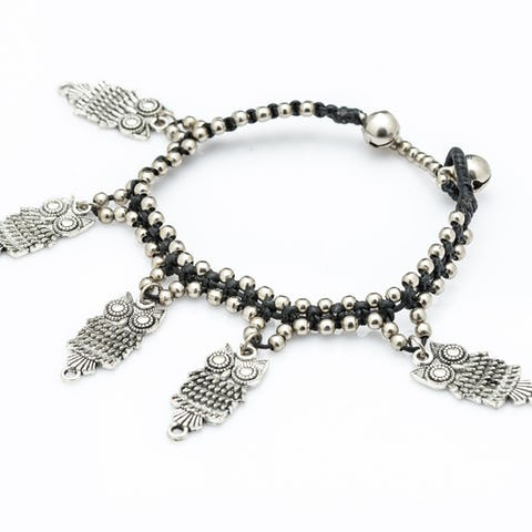 Hill Tribe Silver Color Bead And Charm Bracelets 06