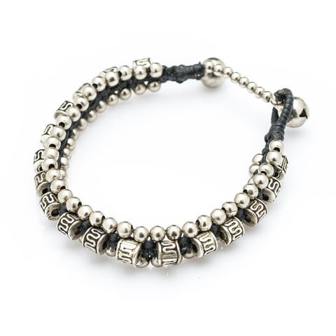 Hill Tribe Silver Color Bead And Charm Bracelets 10
