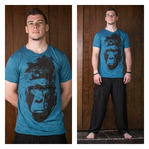 Sure Design Mens Tshirt Great Ape Denim Blue