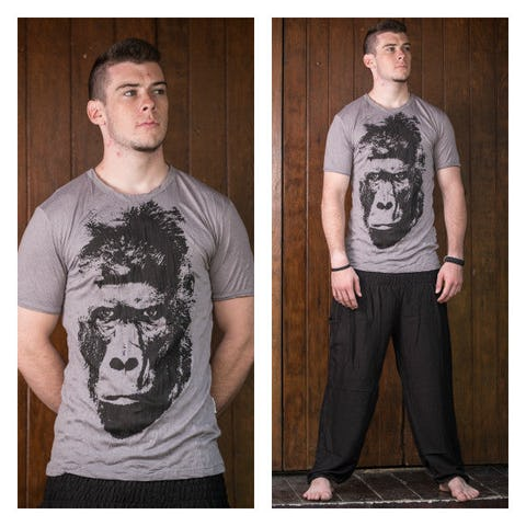 Sure Design Mens Tshirt Great Ape Gray