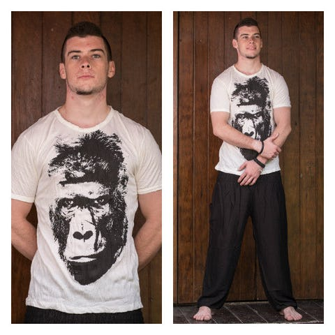 Sure Design Mens Tshirt Great Ape White