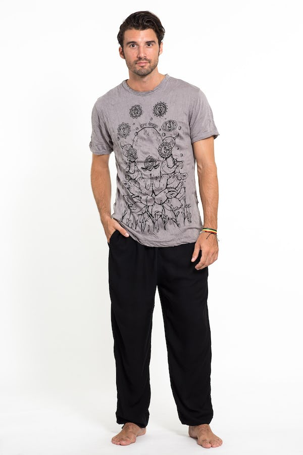 Sure Design Mens Octopus Chakras T-Shirt Gray