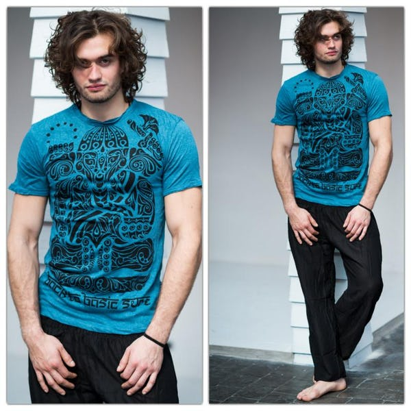 Sure Design Mens Tattoo Ganesh T-Shirt Denim Blue