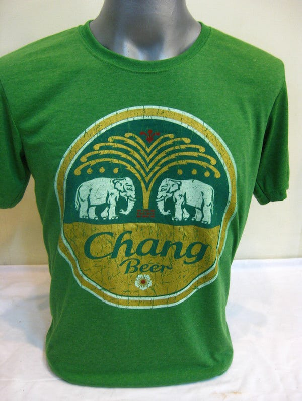Sure Design Super Soft Vintage Style Thai Beer Chang Shirt Green