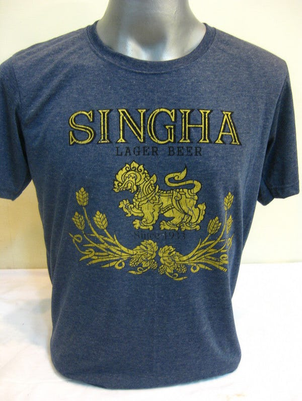 Sure Design Super Soft Vintage Style Thai Beer Singha Shirt Denim Blue