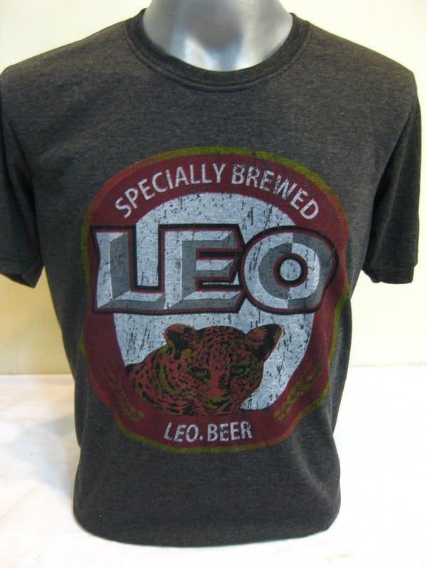 Sure Design Super Soft Vintage Style Thai Beer Leo Shirt Black