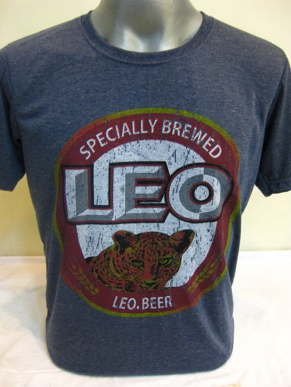Sure Design Super Soft Vintage Style Thai Beer Leo Shirt Denim Blue