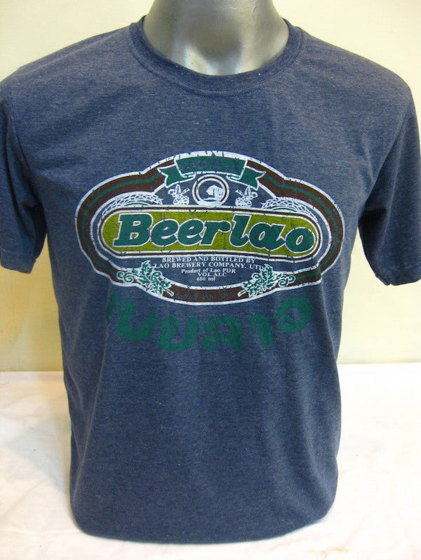 Sure Design Super Soft Vintage Style Thai Beer Lao Shirt Denim Blue