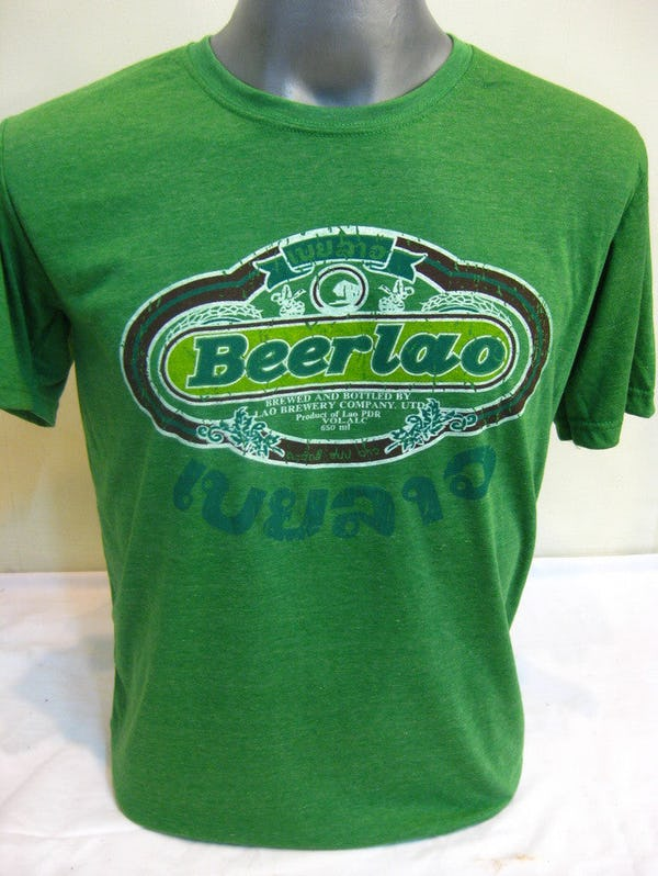 Sure Design Super Soft Vintage Style Thai Beer Lao Shirt Green
