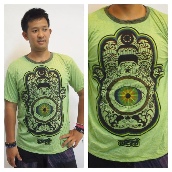 Sure Design Mens Hamsa Eye Power T-Shirt Green