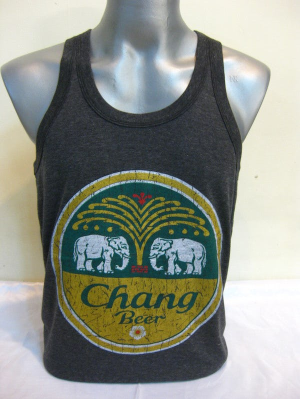 Super Soft Vintage Style Chang Beer Tank Top Black