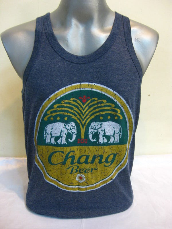 Super Soft Vintage Style Chang Beer Tank Top Denim Blue