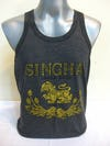 Super Soft Vintage Style Thai Beer Singha Tank Top Black