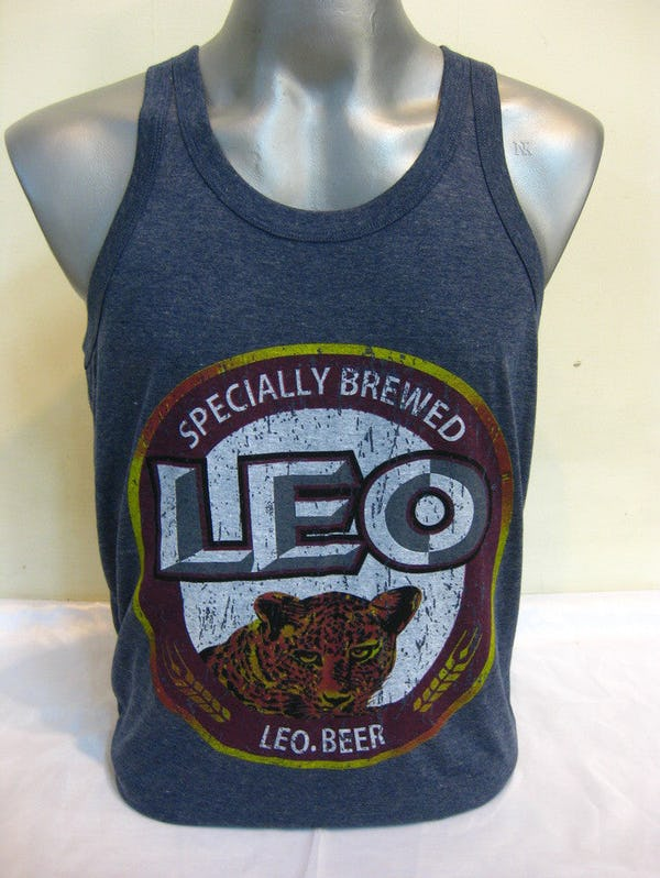 Super Soft Vintage Style Thai Beer Leo Tank Top Denim Blue
