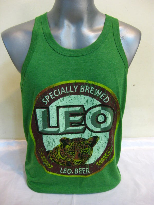 Super Soft Vintage Style Thai Beer Leo Tank Top Green