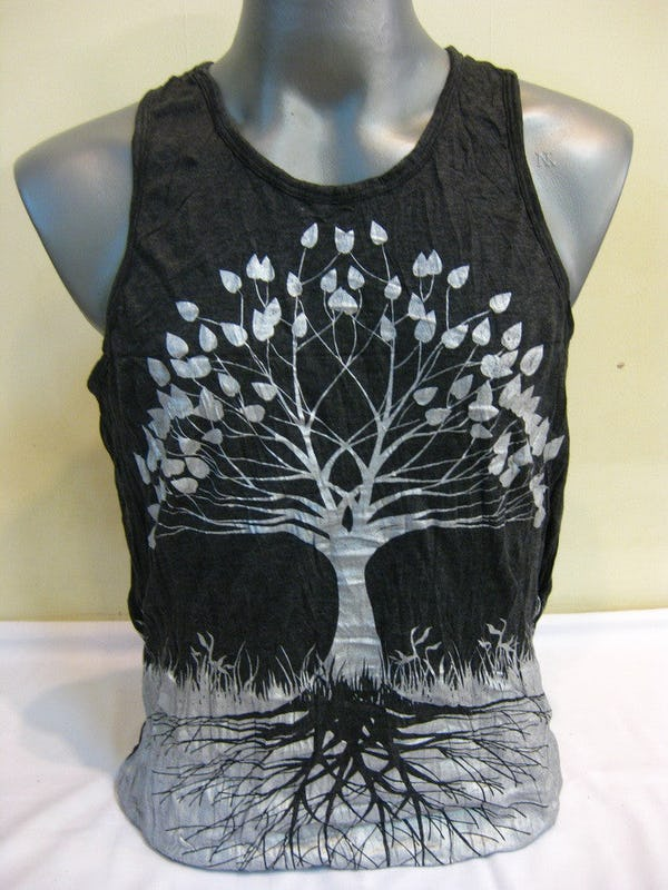 Sure Design Mens Tree Of Life Tank Top Silver on Black