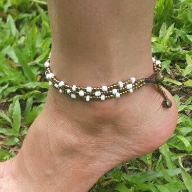 Triple Strands Brass and Color Beads Anklets in White