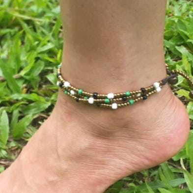 Triple Strands Brass and Color Beads Anklets in Forest