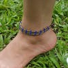 Hand Made Fair Trade Anklet Three Strand Brass Blue