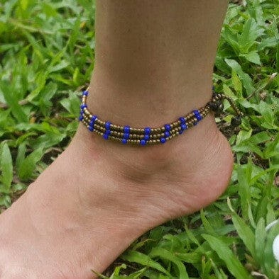 Triple Strands Brass and Color Beads Anklets in Blue
