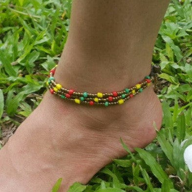 Triple Strands Brass and Color Beads Anklets in Rasta