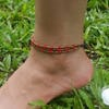 Hand Made Fair Trade Anklet Three Strand Brass Red