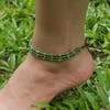 Hand Made Fair Trade Anklet Three Strand Brass Lime