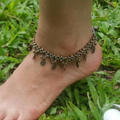 Hand Made Fair Trade Anklet Double Strand Brass Coins Grey