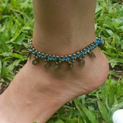 Hand Made Fair Trade Anklet Double Strand Brass Coins Turqouise