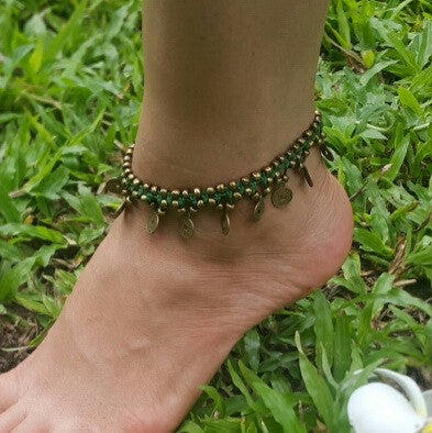 Brass Beads Anklet with Brass Coins in Green