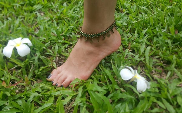 Hand Made Fair Trade Anklet Double Strand Brass Coins Green