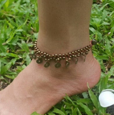 Hand Made Fair Trade Anklet Double Strand Brass Coins Brown
