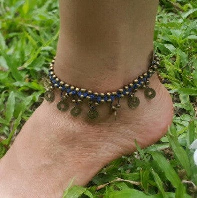 Hand Made Fair Trade Anklet Double Strand Brass Coins Blue
