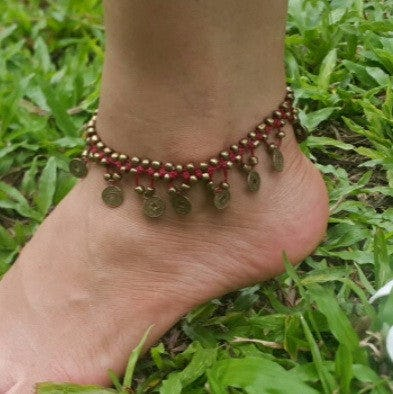 Hand Made Fair Trade Anklet Double Strand Brass Coins Red