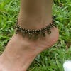 Brass Beads Anklet with Brass Coins in Black