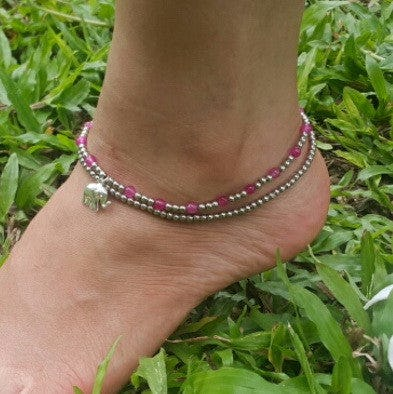 Hand Made Fair Trade Anklet Double Strand Silver Pink Beads Elephant